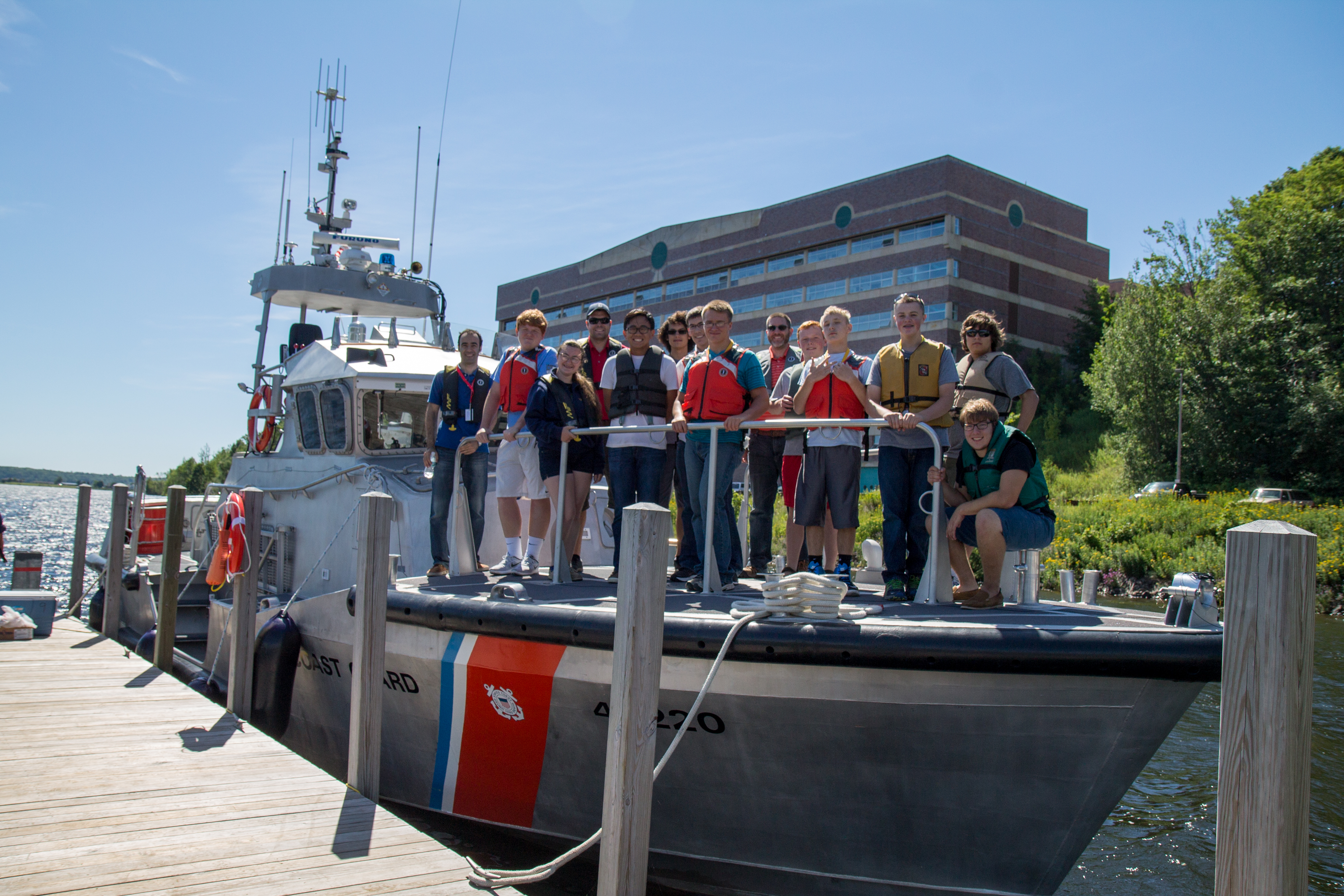 SYP 2016:    On board a USCG 47-foot Motor Life Boat, students learned about underwater acoustic triangulation.